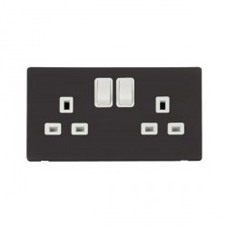 Click Definity Flat Plate Screwless 2 Gang UK 13A Polar White Switched Socket with Black Cover Plate