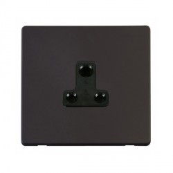 Click Definity Flat Plate Screwless 1 Gang 5A Round Pin Black Socket with Black Cover Plate