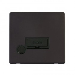 Click Definity Flat Plate Screwless 13A Black Fused Connection Unit with Flex Outlet with Black Cover Plate