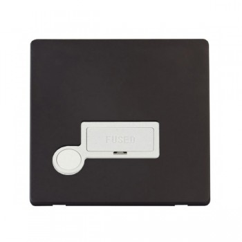 Click Definity Flat Plate Screwless 13A Polar White Fused Connection Unit with Flex Outlet with Black Cover Plate