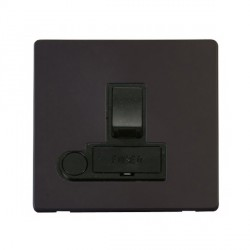 Click Definity Flat Plate Screwless 13A Black Fused Switched Connection Unit with Flex Outlet with Black Cover Plate