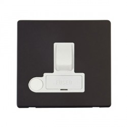 Click Definity Flat Plate Screwless 13A Polar White Fused Switched Connection Unit with Flex Outlet with Black Cover Plate