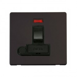 Click Definity Flat Plate Screwless 13A Black Fused Switched Connection Unit with Flex Outlet and Neon with Black Cover Plate