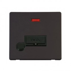 Click Definity Flat Plate Screwless 13A Black Fused Connection Unit with Flex Outlet and Neon with Black Cover Plate