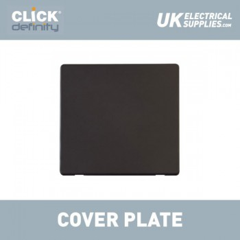 Click Definity Flat Plate Screwless 1 Gang Polar White Blank Plate Insert with Black Cover Plate