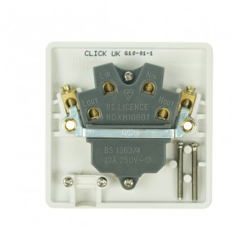 Click Mode White PVC Switched Fused Spur Connection Unit with Flex Outlet