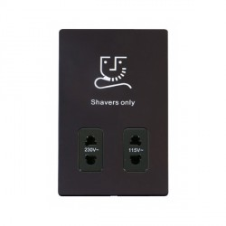 Click Definity Flat Plate Screwless 115V/230V Dual Voltage Black Shaver Socket with Black Cover Plate