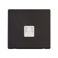 Click Definity Flat Plate Screwless Single Polar White Telephone Master Outlet with Black Cover Plate