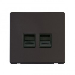 Click Definity Flat Plate Screwless Twin Black Telephone Master Outlet with Black Cover Plate
