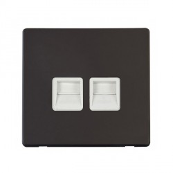 Click Definity Flat Plate Screwless Twin Polar White Telephone Master Outlet with Black Cover Plate