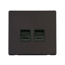 Click Definity Flat Plate Screwless Twin Black Telephone Secondary Outlet with Black Cover Plate