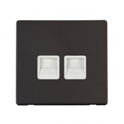 Click Definity Flat Plate Screwless Twin Polar White Telephone Secondary Outlet with Black Cover Plate