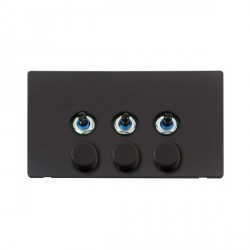 Click Definity Flat Plate Screwless 3 Gang 2 Way 250W Dimmer Switch with Black Cover Plate