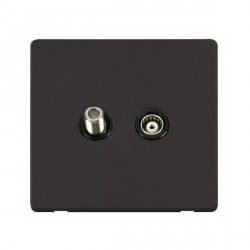 Click Definity Flat Plate Screwless Black Isolated Coaxial and Satellite F Socket with Black Cover Plate