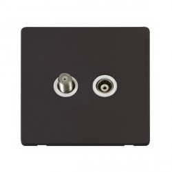 Click Definity Flat Plate Screwless Polar White Isolated Coaxial and Satellite F Socket with Black Cover Plate