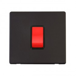 Click Definity Flat Plate Screwless 45A 1 Gang DP Black Switch with Black Cover Plate