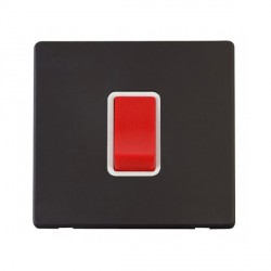 Click Definity Flat Plate Screwless 45A 1 Gang DP Polar White Switch with Black Cover Plate