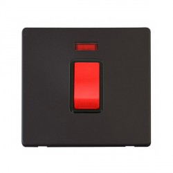 Click Definity Flat Plate Screwless 45A 1 Gang DP Black Switch with Neon with Black Cover Plate
