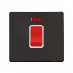 Click Definity Flat Plate Screwless 45A 1 Gang DP Polar White Switch with Neon with Black Cover Plate