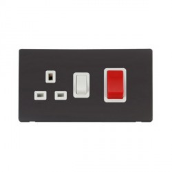 Click Definity Flat Plate Screwless 45A DP Switch with 13A DP Switched Socket in Polar White with Black Cover Plate