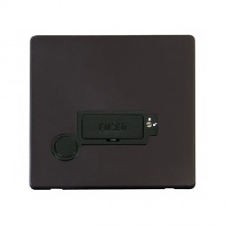 Click Definity Flat Plate Screwless Lockable 13A Fused Connection Unit with Flex Outlet in Black with Black Cover Plate