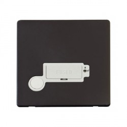 Click Definity Flat Plate Screwless Lockable 13A Fused Connection Unit with Flex Outlet in Polar White with Black Cover Plate