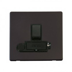 Click Definity Flat Plate Screwless Lockable 13A Switched Fused Connection Unit with Flex Outlet in Black with Black Cover Plate