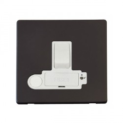 Click Definity Flat Plate Screwless Lockable 13A Switched Fused Connection Unit with Flex Outlet in Polar White with Black Cover Plate