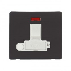 Click Definity Flat Plate Screwless Lockable 13A Switched Fused Connection Unit with Flex outlet and Neon in Polar White with Black Cover Plate