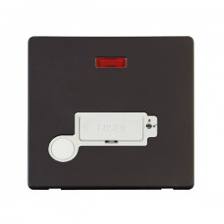 Click Definity Flat Plate Screwless Lockable 13A Fused Connection Unit with Flex Outlet and Neon in Polar White with Black Cover Plate