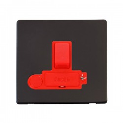 Click Definity Flat Plate Screwless 3A Double Pole Switched Fused Connection Unit with Flex Outlet in Red with Black Cover Plate