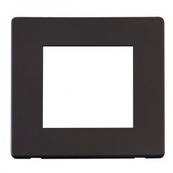 Click Definity Flat Plate Screwless Black Single Plate Twin Aperture Insert with Black Cover Plate