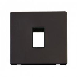 Click Definity Flat Plate Screwless Black Single Plate Single Aperture Insert with Black Cover Plate