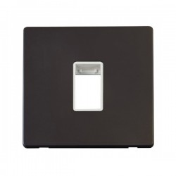 Click Definity Flat Plate Screwless Polar White Single Plate Single Aperture Insert with Black Cover Plate