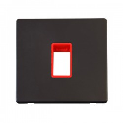 Click Definity Flat Plate Screwless Red Single Plate Single Aperture Insert with Black Cover Plate