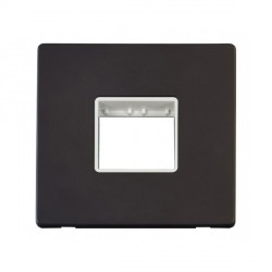 Click Definity Flat Plate Screwless Polar White Single Plate Twin Aperture Insert with Black Cover Plate