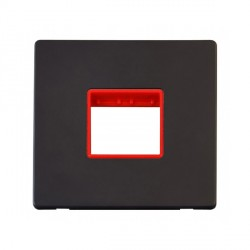 Click Definity Flat Plate Screwless Red Single Plate Twin Aperture Insert with Black Cover Plate