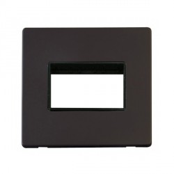 Click Definity Flat Plate Screwless Black Single Plate Triple Aperture Insert with Black Cover Plate