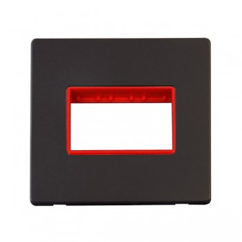 Click Definity Flat Plate Screwless Red Single Plate Triple Aperture Insert with Black Cover Plate