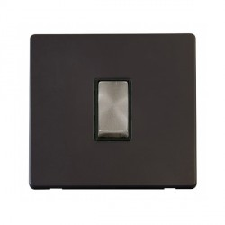 Click Definity Flat Plate Screwless 10AX 1 Gang 2 Way Black Insert with Brushed Steel Switch with Black Cover Plate