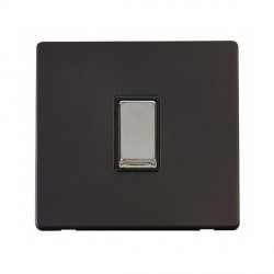 Click Definity Flat Plate Screwless 10AX 1 Gang 2 Way Black Insert with Polished Chrome Switch with Black Cover Plate