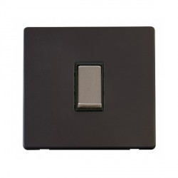 Click Definity Flat Plate Screwless 10AX 1 Gang 2 Way Black Insert with Stainless Steel Switch with Black Cover Plate