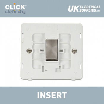 Click Definity Flat Plate Screwless 10AX 1 Gang 2 Way Polar White Insert with Brushed Steel Switch with Black Cover Plate
