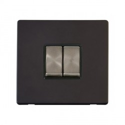 Click Definity Flat Plate Screwless 10AX 2 Gang 2 Way Black Insert with Brushed Steel Switch with Black Cover Plate