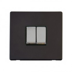 Click Definity Flat Plate Screwless 10AX 2 Gang 2 Way Black Insert with Polished Chrome Switch with Black Cover Plate