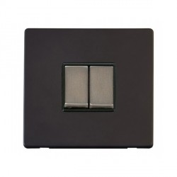 Click Definity Flat Plate Screwless 10AX 2 Gang 2 Way Black Insert with Stainless Steel Switch with Black Cover Plate