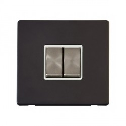 Click Definity Flat Plate Screwless 10AX 2 Gang 2 Way Polar White Insert with Brushed Steel Switch with Black Cover Plate