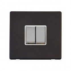 Click Definity Flat Plate Screwless 10AX 2 Gang 2 Way Polar White Insert with Polished Chrome Switch with Black Cover Plate