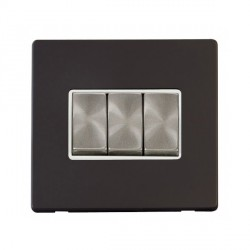 Click Definity Flat Plate Screwless 10AX 3 Gang 2 Way Polar White Insert with Brushed Steel Switch with Black Cover Plate