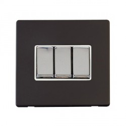 Click Definity Flat Plate Screwless 10AX 3 Gang 2 Way Polar White Insert with Polished Chrome Switch with Black Cover Plate